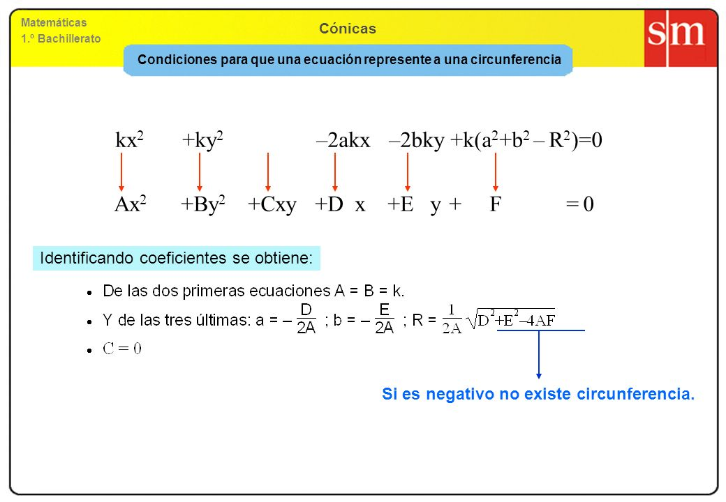 Condiciones para que una ecuación represente a una circunferencia