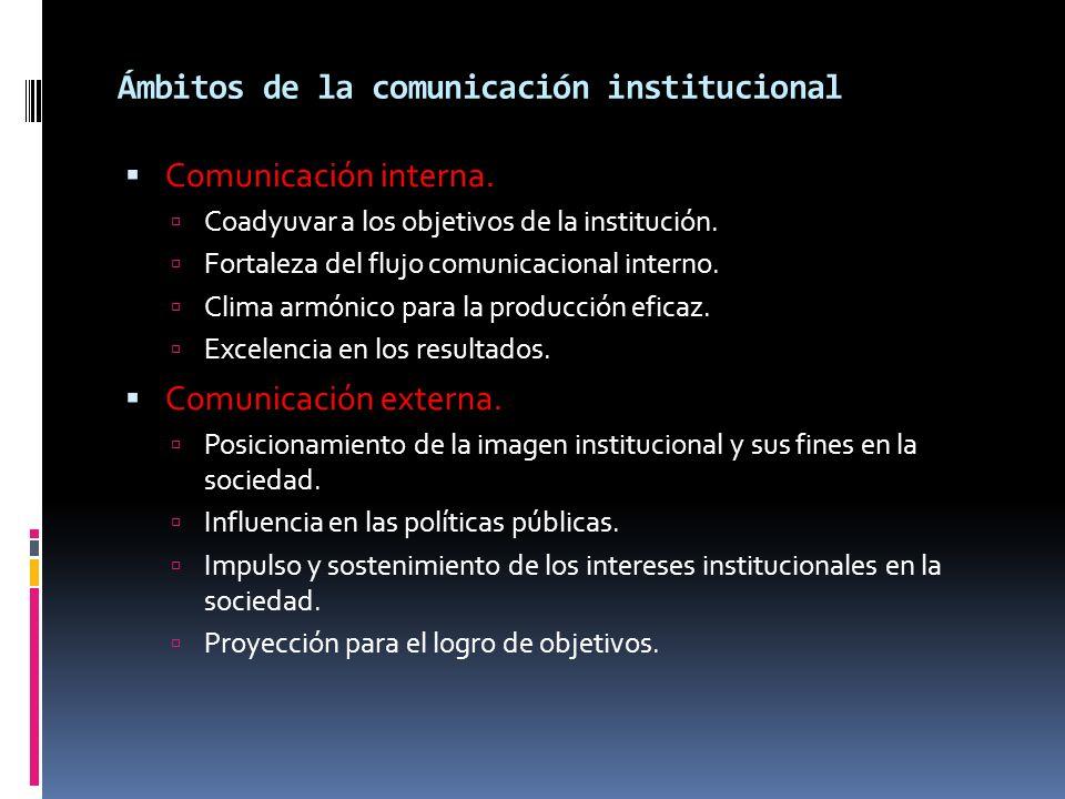 Ámbitos de la comunicación institucional