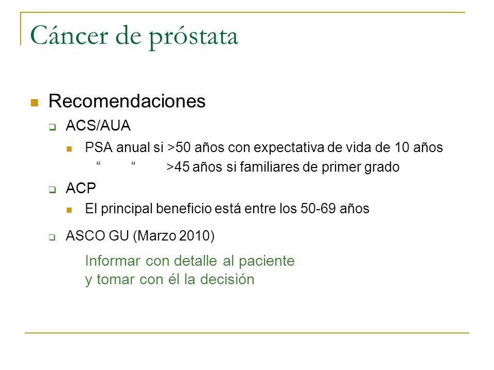 Cáncer de próstata Recomendaciones ACS/AUA ACP