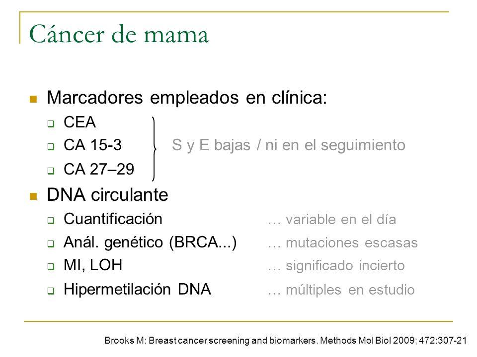 Cáncer de mama Marcadores empleados en clínica: DNA circulante CEA