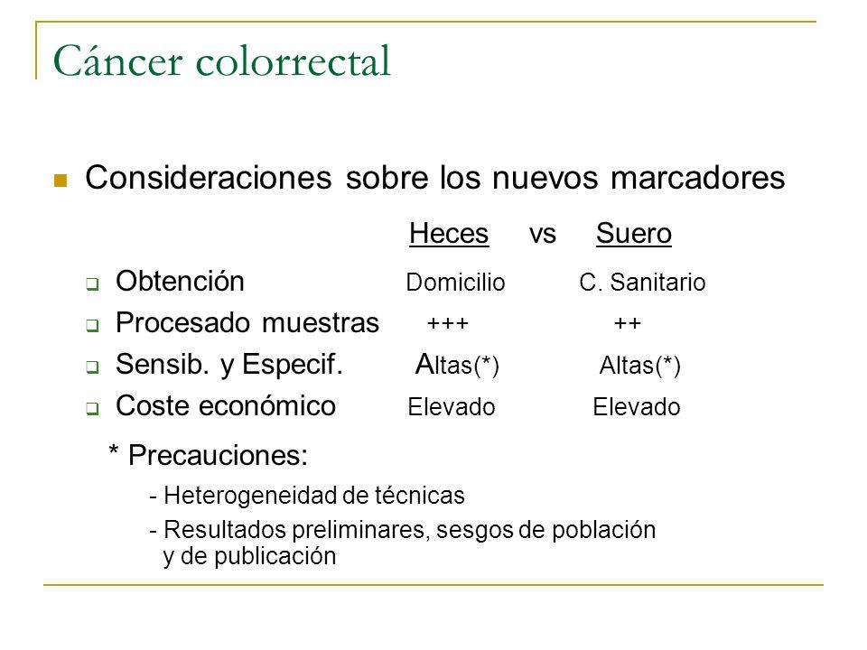 Cáncer colorrectal Heces vs Suero