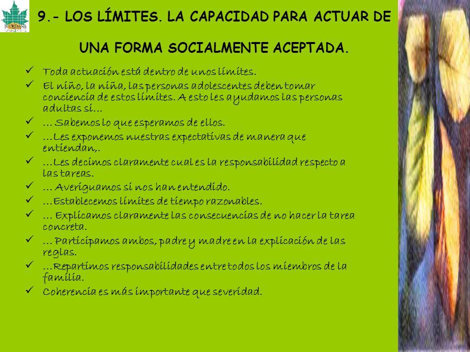 9.- LOS LÍMITES. LA CAPACIDAD PARA ACTUAR DE UNA FORMA SOCIALMENTE ACEPTADA.