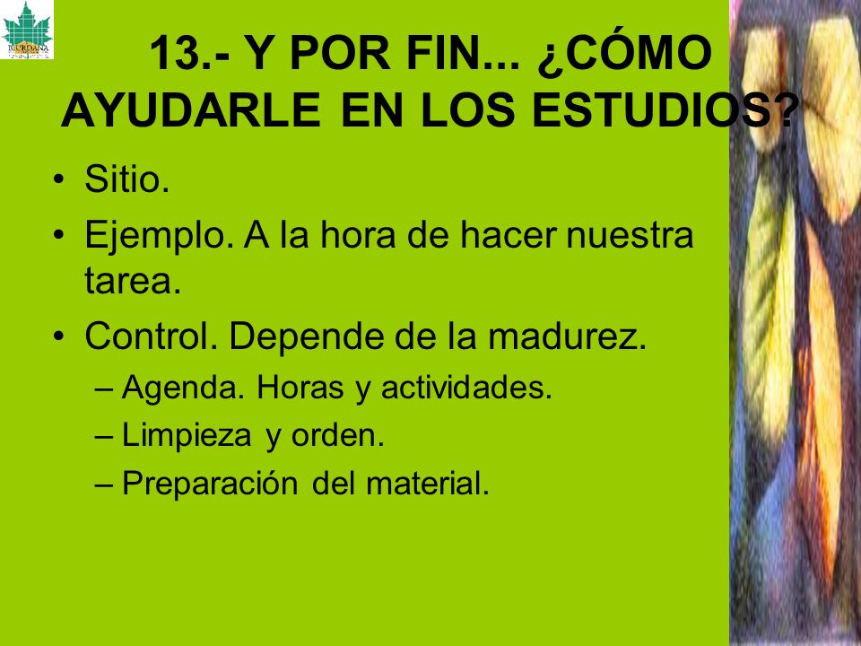 13.- Y POR FIN... ¿CÓMO AYUDARLE EN LOS ESTUDIOS