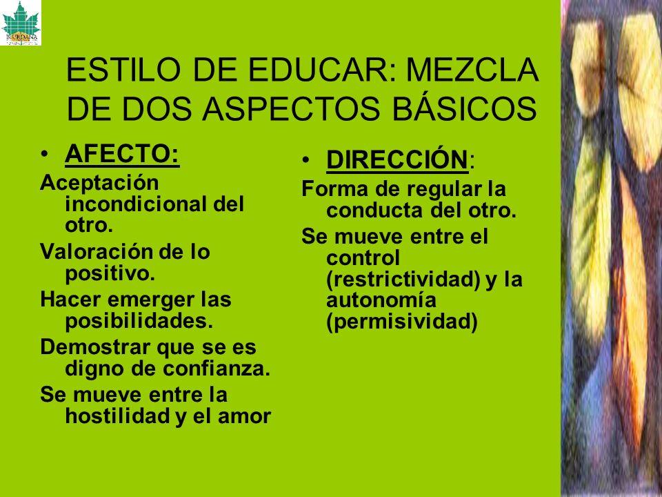 ESTILO DE EDUCAR: MEZCLA DE DOS ASPECTOS BÁSICOS
