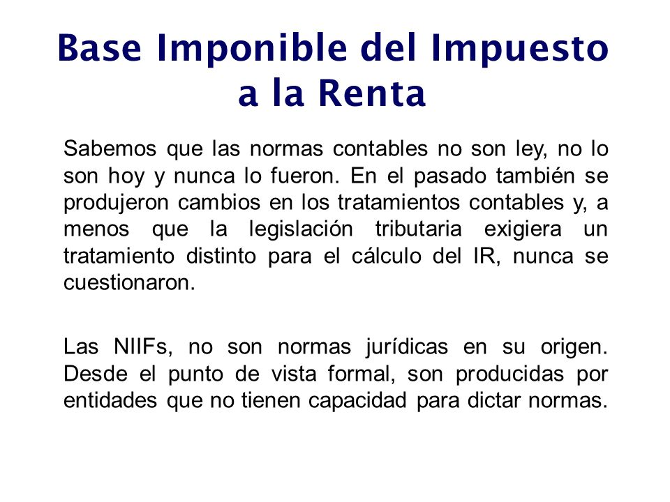 Base Imponible del Impuesto a la Renta