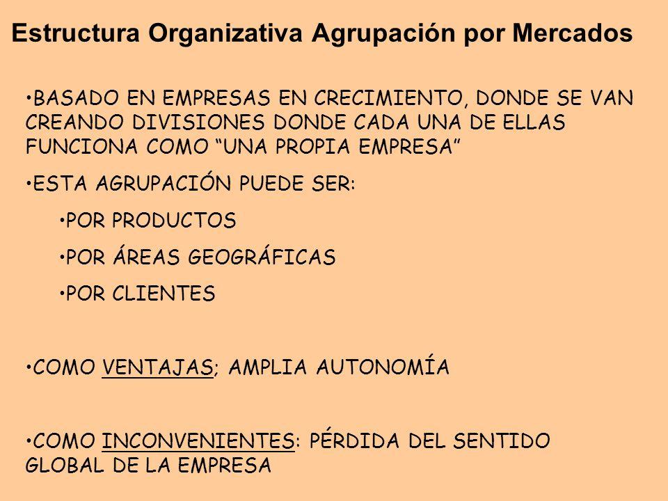 Estructura Organizativa Agrupación por Mercados