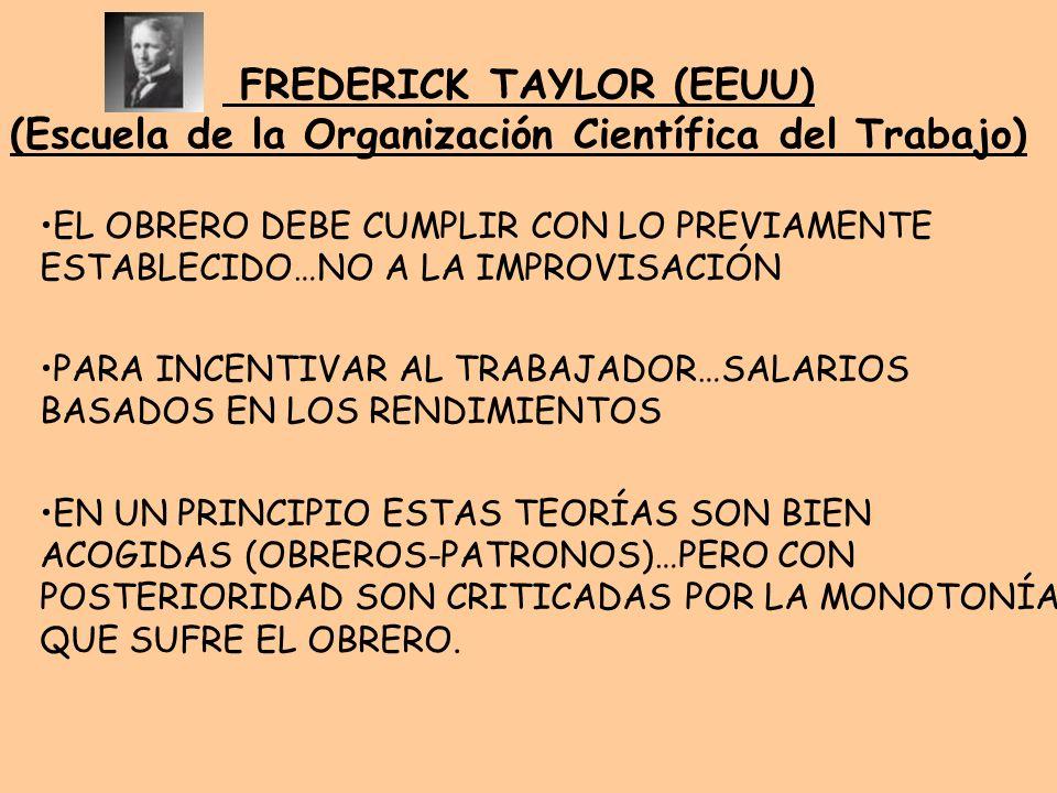 FREDERICK TAYLOR (EEUU) (Escuela de la Organización Científica del Trabajo)