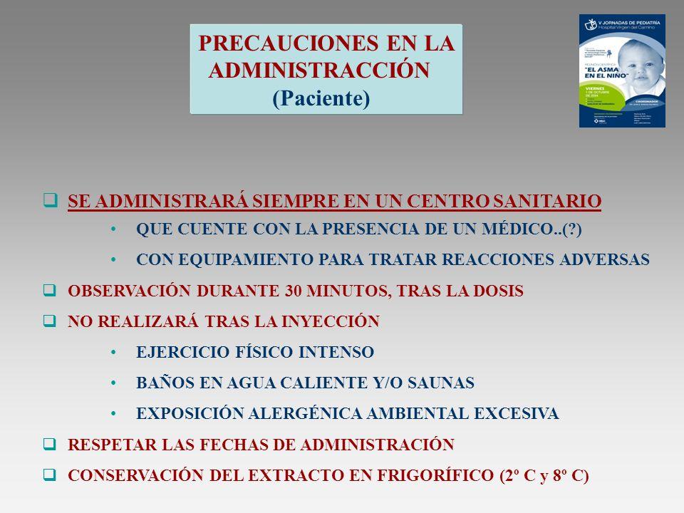 PRECAUCIONES EN LA ADMINISTRACCIÓN (Paciente)