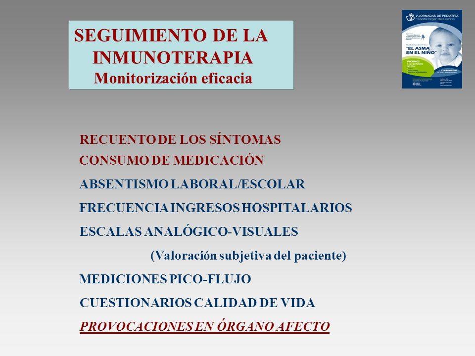 SEGUIMIENTO DE LA INMUNOTERAPIA Monitorización eficacia