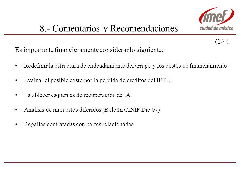 8.- Comentarios y Recomendaciones