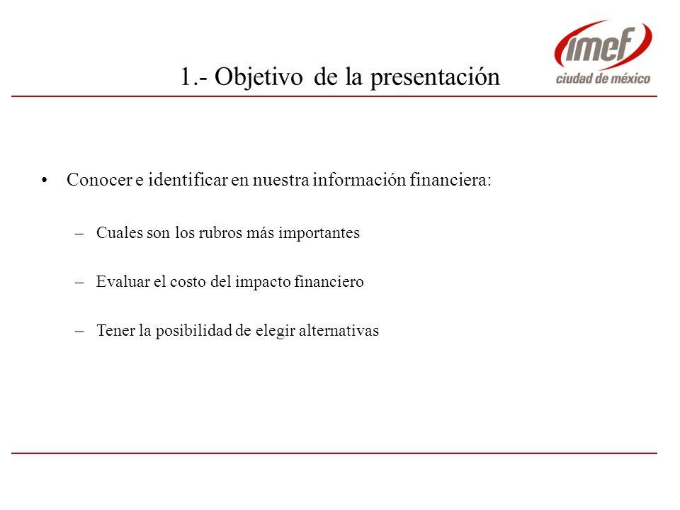 1.- Objetivo de la presentación