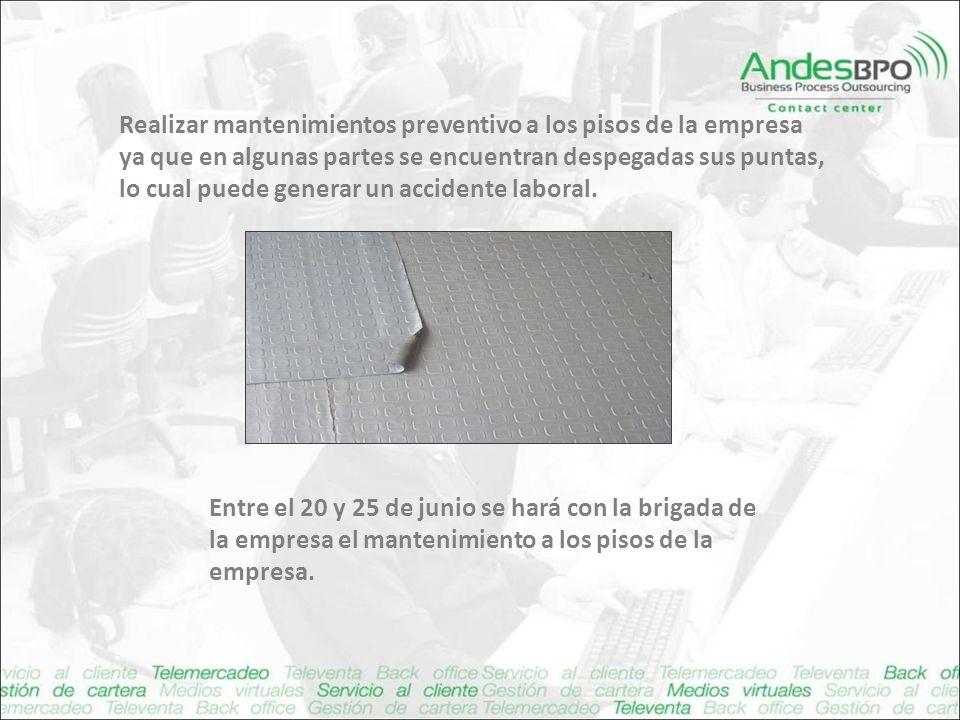 Realizar mantenimientos preventivo a los pisos de la empresa ya que en algunas partes se encuentran despegadas sus puntas, lo cual puede generar un accidente laboral.