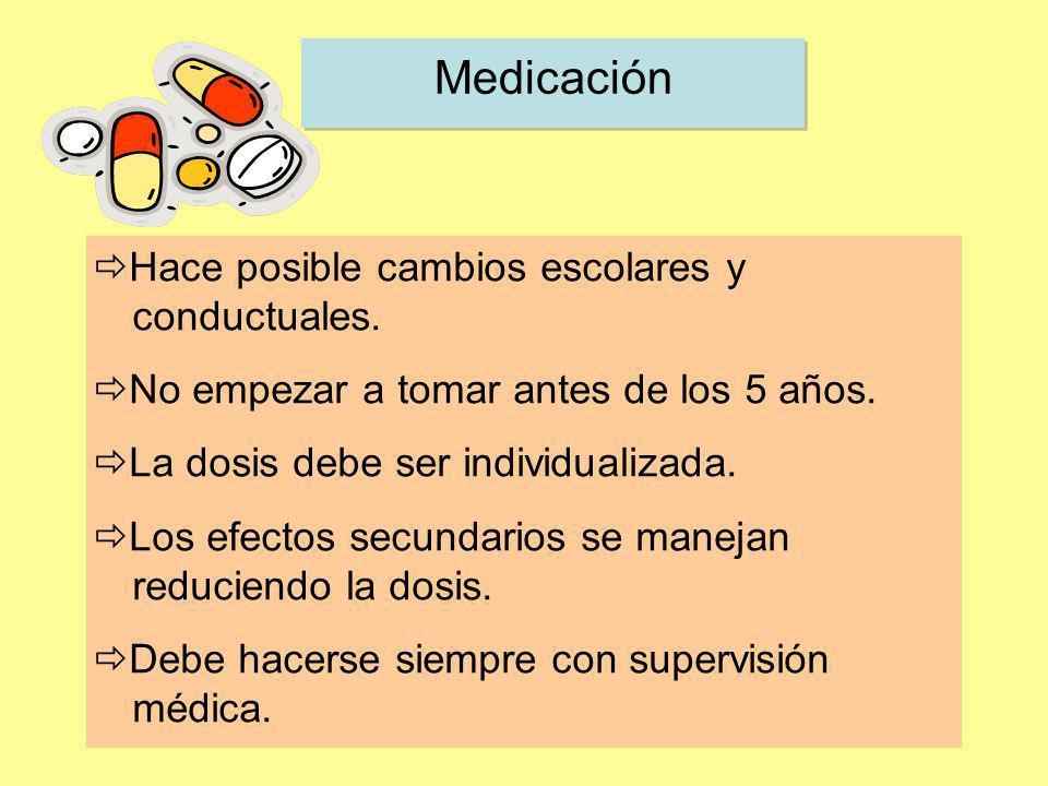 Medicación Hace posible cambios escolares y conductuales.