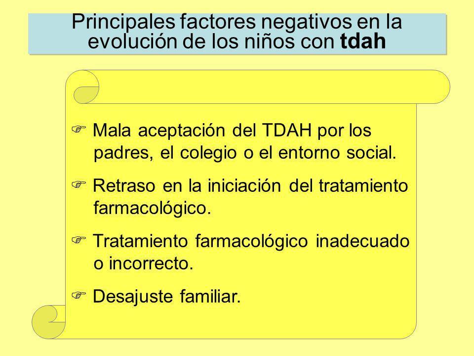 Principales factores negativos en la evolución de los niños con tdah