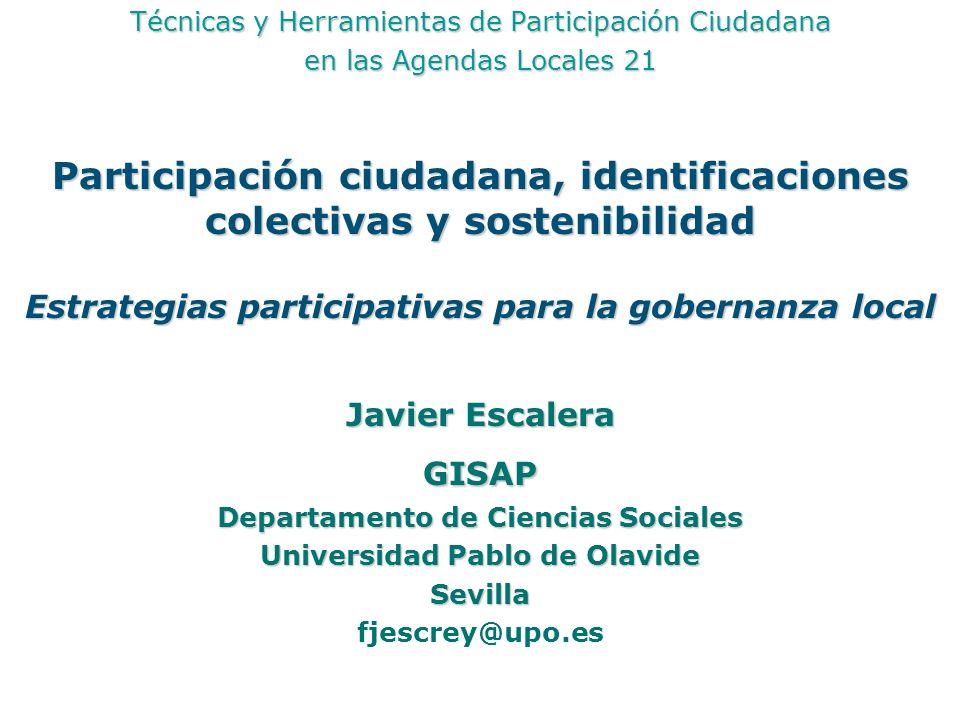 Participación ciudadana, identificaciones colectivas y sostenibilidad