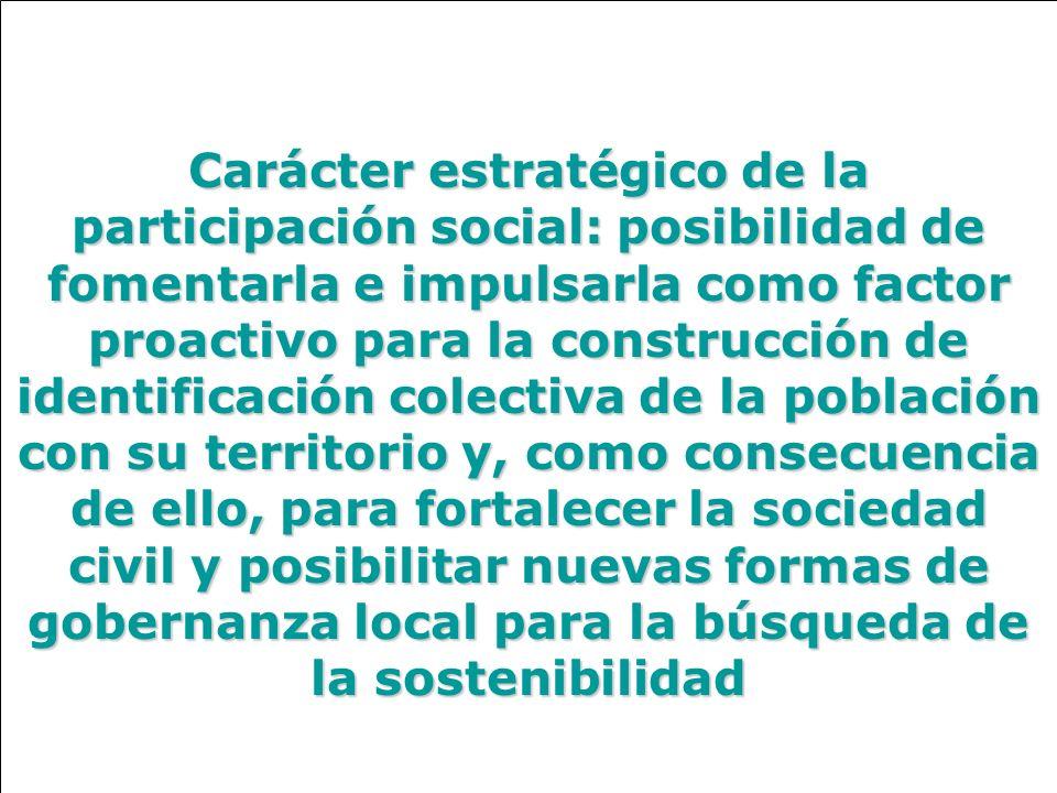 Carácter estratégico de la participación social: posibilidad de fomentarla e impulsarla como factor proactivo para la construcción de identificación colectiva de la población con su territorio y, como consecuencia de ello, para fortalecer la sociedad civil y posibilitar nuevas formas de gobernanza local para la búsqueda de la sostenibilidad