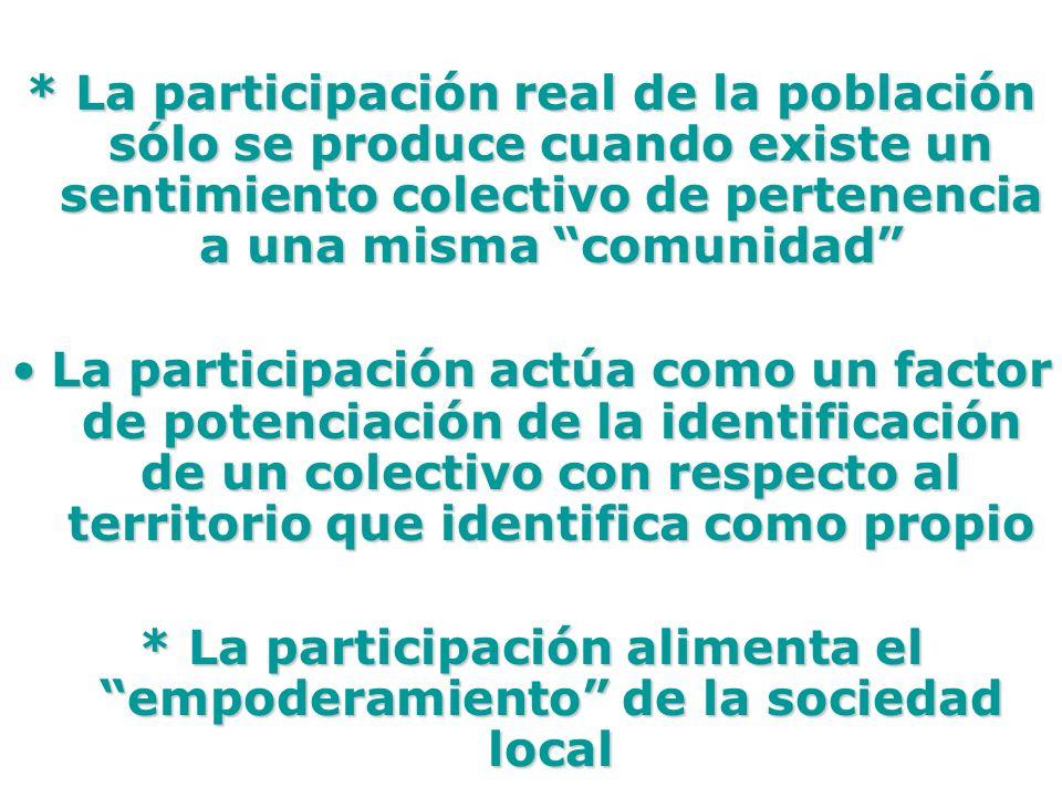 * La participación alimenta el empoderamiento de la sociedad local