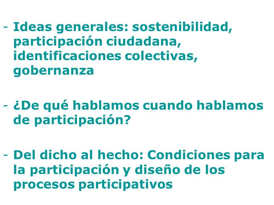 Ideas generales: sostenibilidad, participación ciudadana, identificaciones colectivas, gobernanza