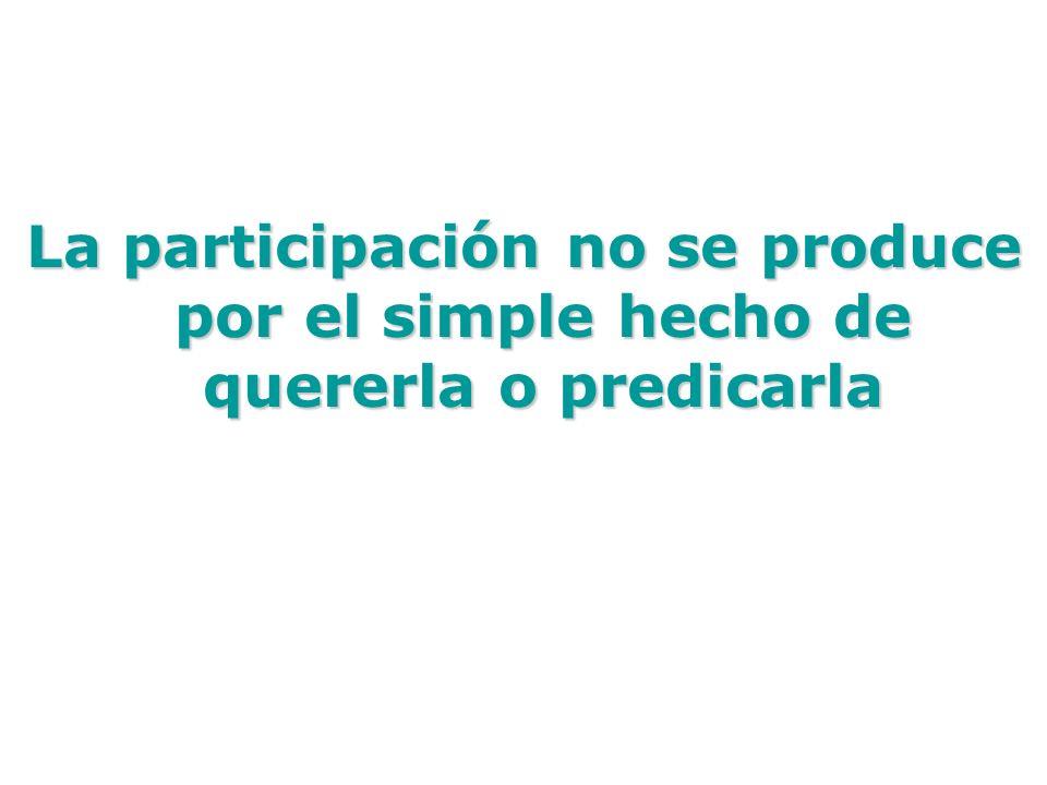 La participación no se produce por el simple hecho de quererla o predicarla