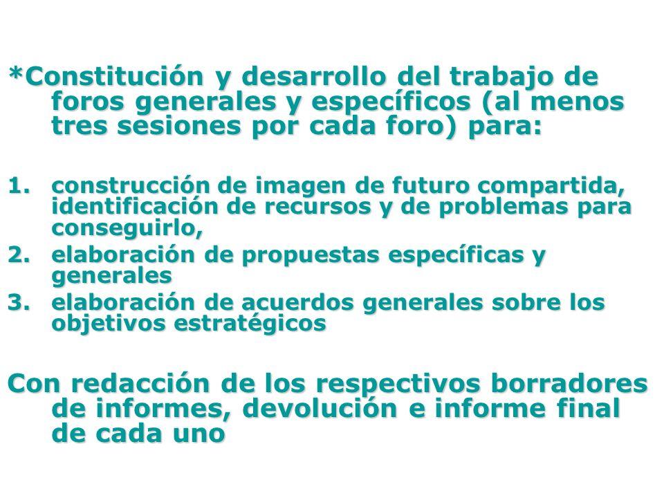 *Constitución y desarrollo del trabajo de foros generales y específicos (al menos tres sesiones por cada foro) para: