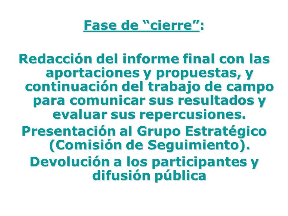 Presentación al Grupo Estratégico (Comisión de Seguimiento).