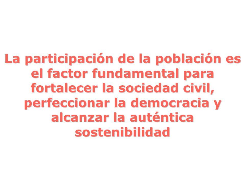 La participación de la población es el factor fundamental para fortalecer la sociedad civil, perfeccionar la democracia y alcanzar la auténtica sostenibilidad