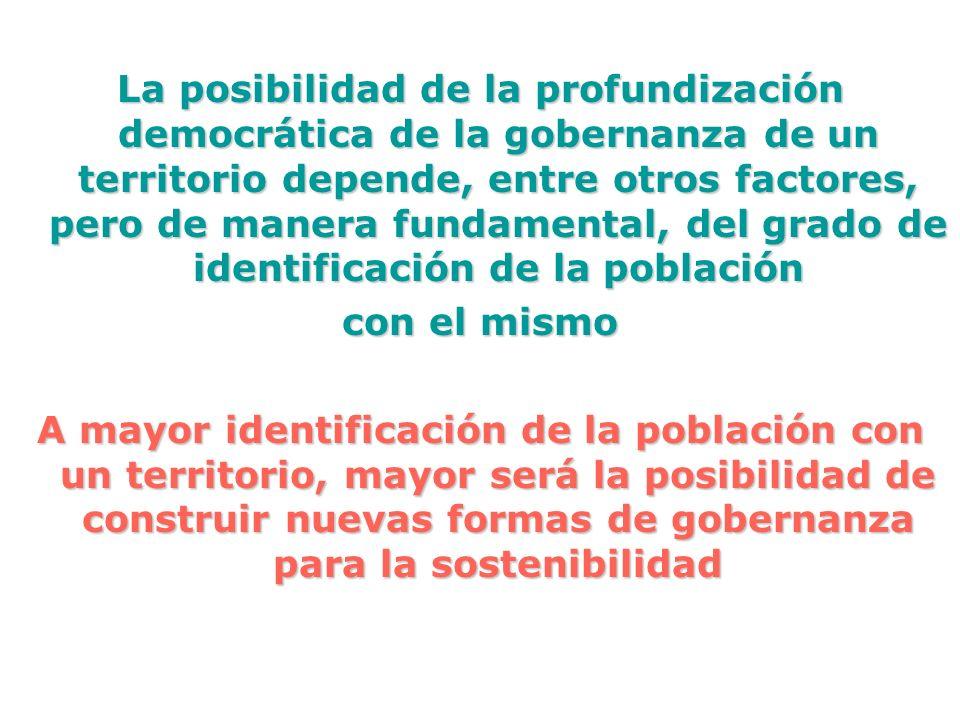 La posibilidad de la profundización democrática de la gobernanza de un territorio depende, entre otros factores, pero de manera fundamental, del grado de identificación de la población