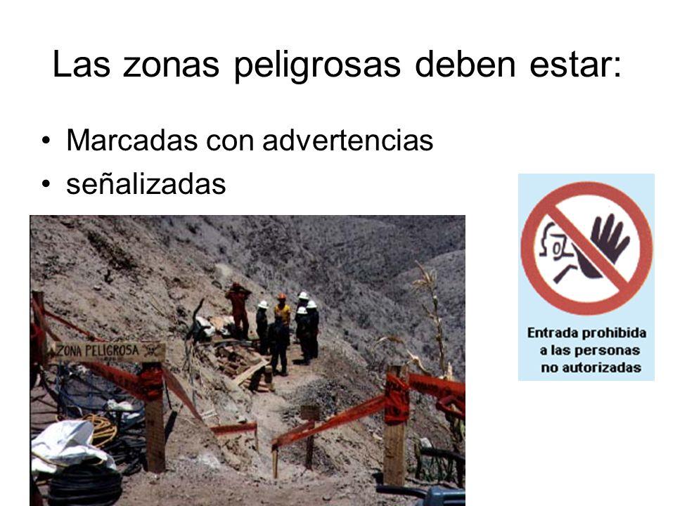 Las zonas peligrosas deben estar: