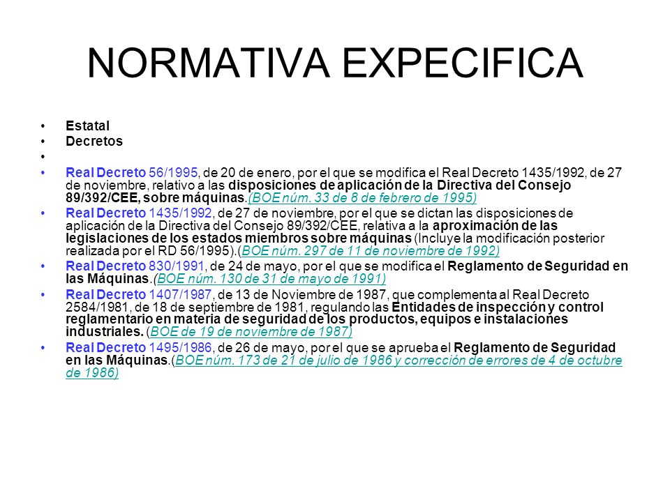 NORMATIVA EXPECIFICA Estatal Decretos