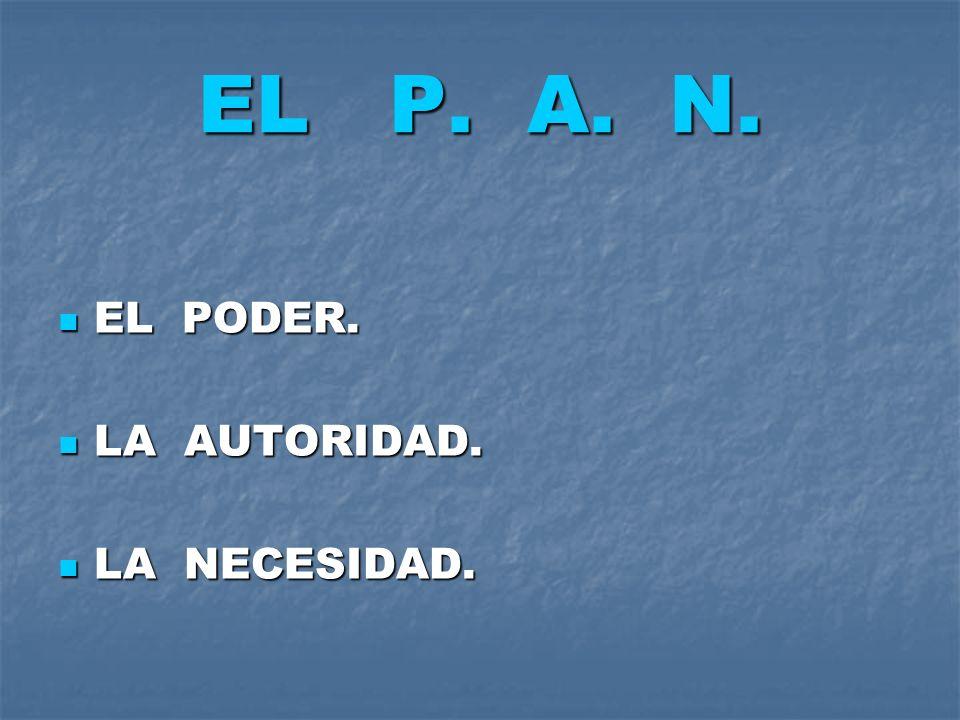 EL P. A. N. EL PODER. LA AUTORIDAD. LA NECESIDAD.