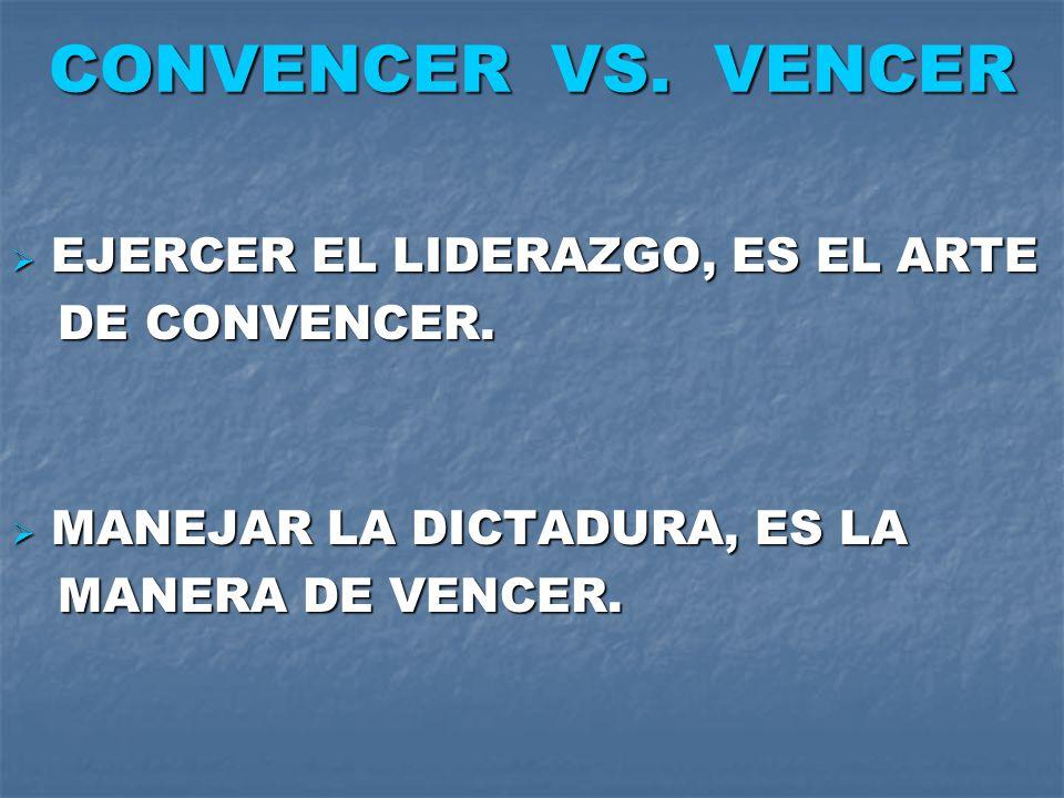 CONVENCER VS. VENCER EJERCER EL LIDERAZGO, ES EL ARTE DE CONVENCER.