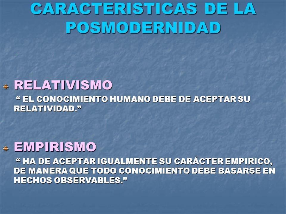 CARACTERISTICAS DE LA POSMODERNIDAD