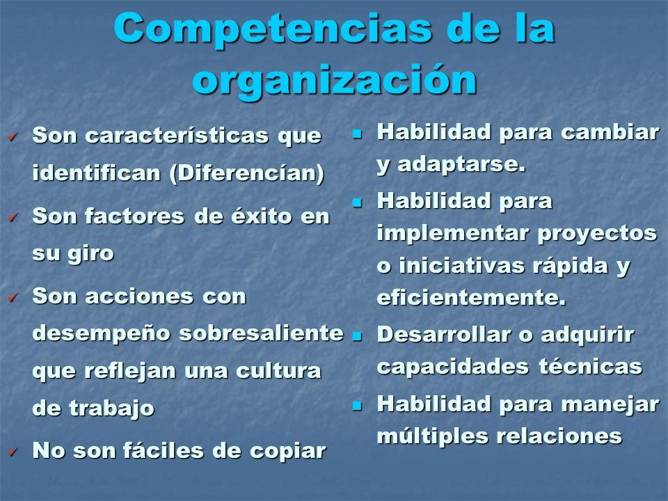 Competencias de la organización