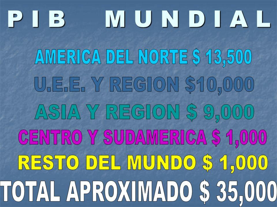 P I B M U N D I A L AMERICA DEL NORTE $ 13,500 U.E.E. Y REGION $10,000