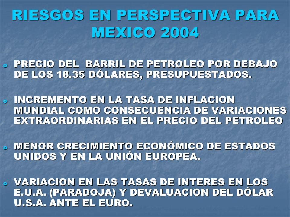 RIESGOS EN PERSPECTIVA PARA MEXICO 2004