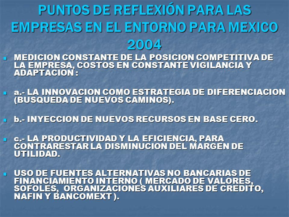 PUNTOS DE REFLEXIÓN PARA LAS EMPRESAS EN EL ENTORNO PARA MEXICO 2004