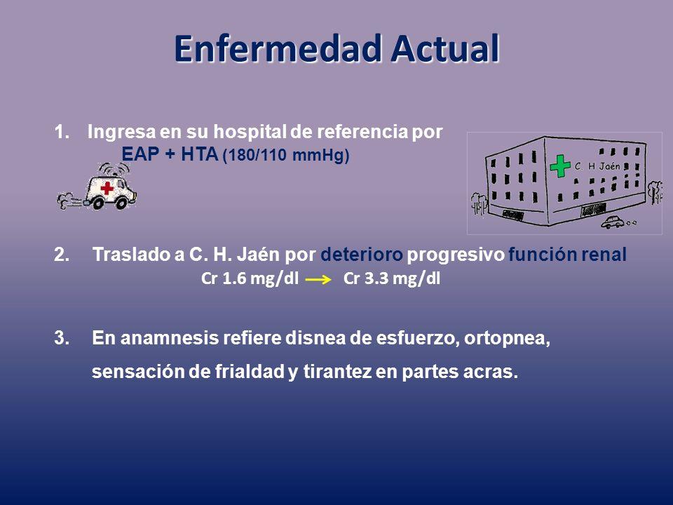 Enfermedad Actual Ingresa en su hospital de referencia por