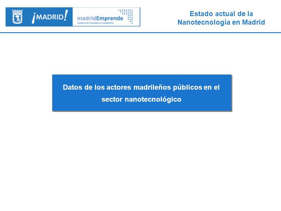 Datos de los actores madrileños públicos en el sector nanotecnológico