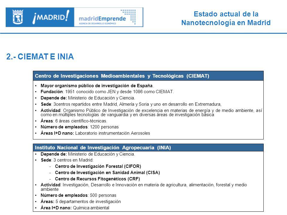 2.- CIEMAT E INIA Centro de Investigaciones Medioambientales y Tecnológicas (CIEMAT) Mayor organismo público de investigación de España.