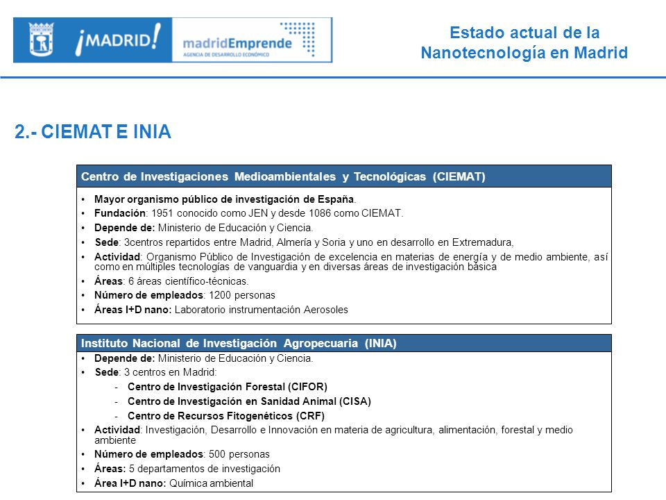 2.- CIEMAT E INIACentro de Investigaciones Medioambientales y Tecnológicas (CIEMAT) Mayor organismo público de investigación de España.