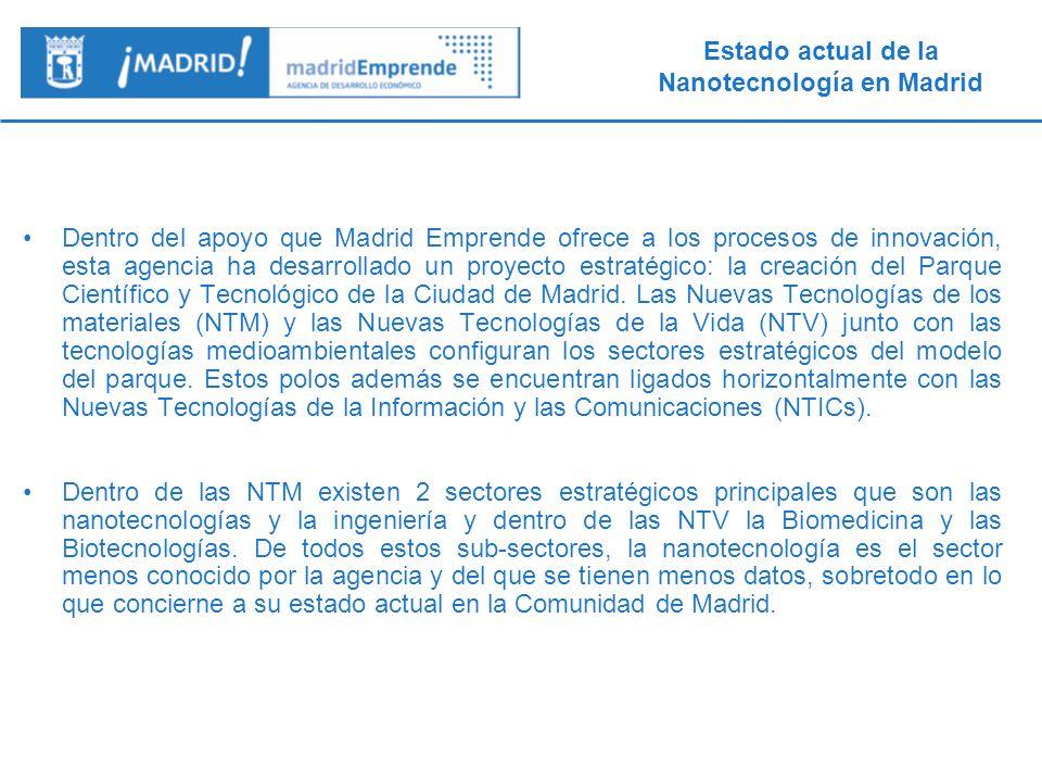 Dentro del apoyo que Madrid Emprende ofrece a los procesos de innovación, esta agencia ha desarrollado un proyecto estratégico: la creación del Parque Científico y Tecnológico de la Ciudad de Madrid. Las Nuevas Tecnologías de los materiales (NTM) y las Nuevas Tecnologías de la Vida (NTV) junto con las tecnologías medioambientales configuran los sectores estratégicos del modelo del parque. Estos polos además se encuentran ligados horizontalmente con las Nuevas Tecnologías de la Información y las Comunicaciones (NTICs).