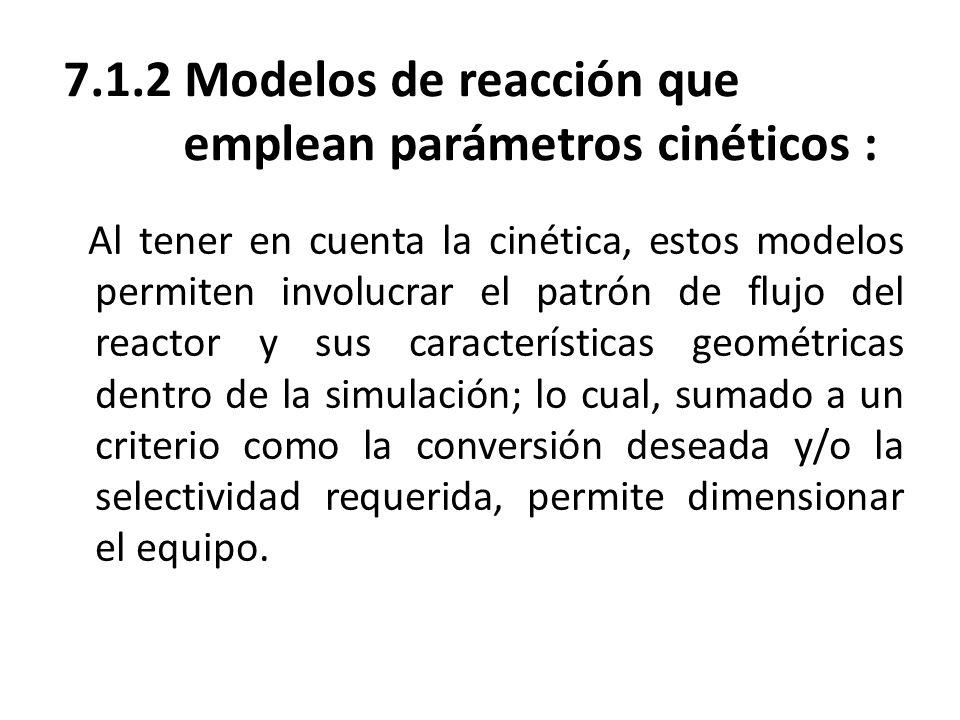 7.1.2 Modelos de reacción que emplean parámetros cinéticos :