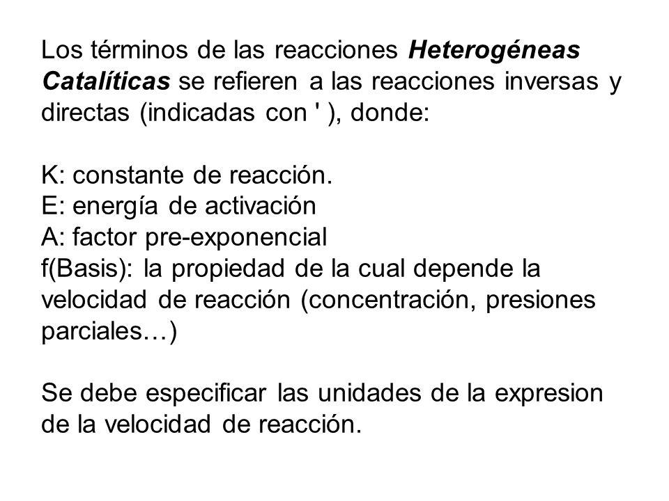 Los términos de las reacciones Heterogéneas Catalíticas se refieren a las reacciones inversas y directas (indicadas con ), donde: