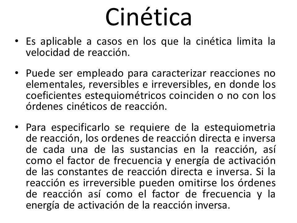 Cinética Es aplicable a casos en los que la cinética limita la velocidad de reacción.