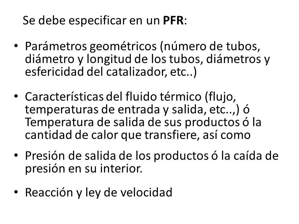 Se debe especificar en un PFR: