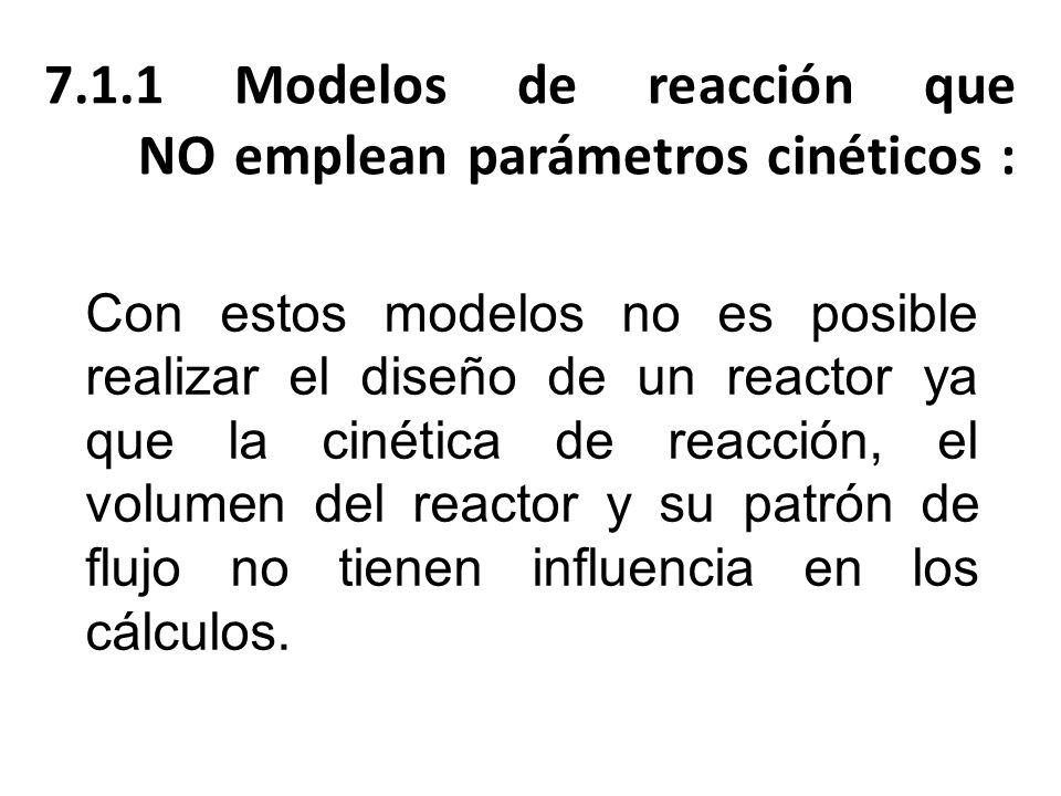 7.1.1 Modelos de reacción que NO emplean parámetros cinéticos :