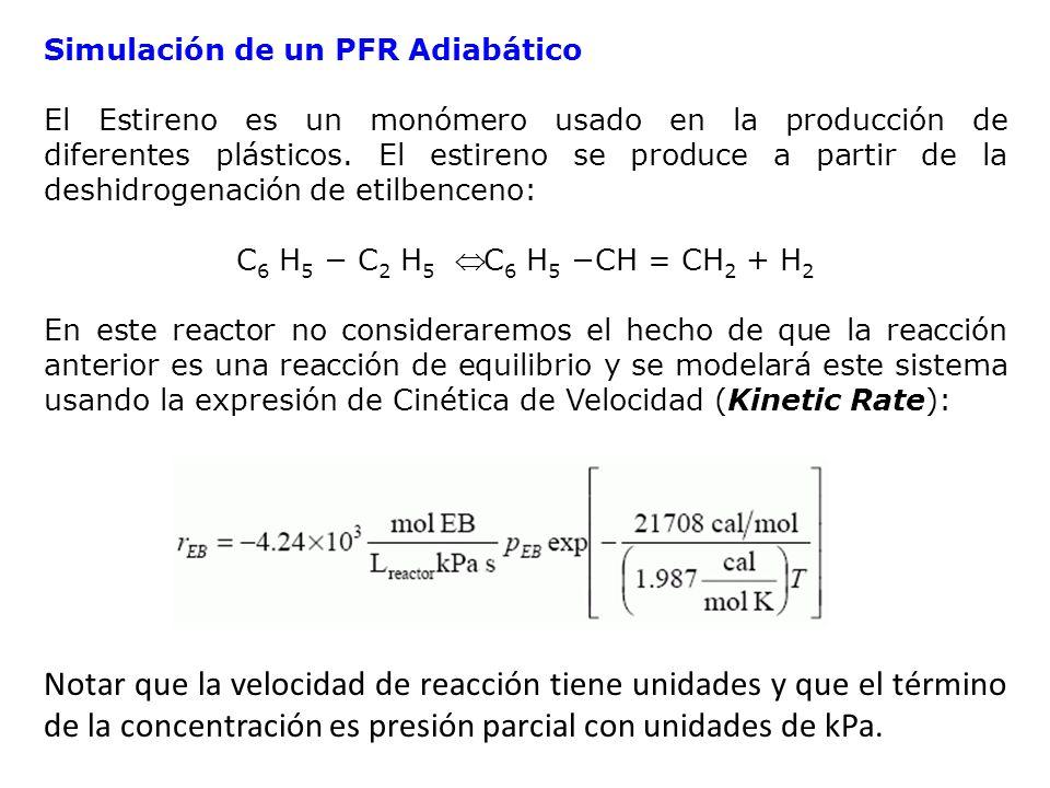 Simulación de un PFR Adiabático
