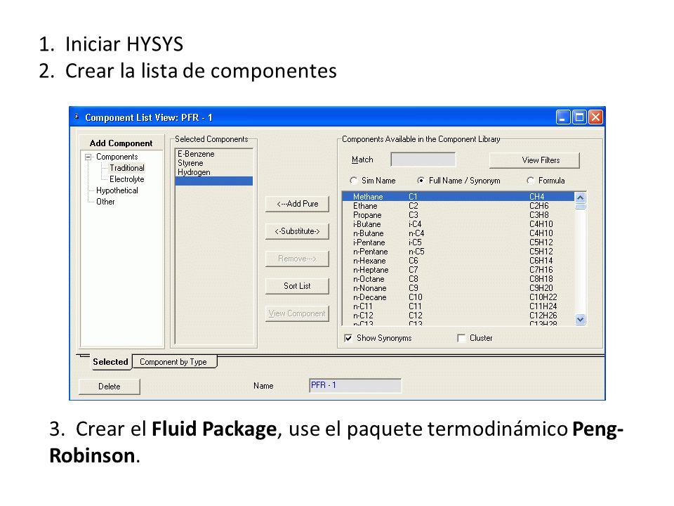 1. Iniciar HYSYS 2. Crear la lista de componentes.