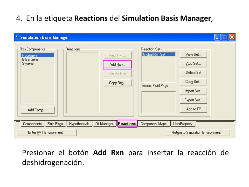 4. En la etiqueta Reactions del Simulation Basis Manager,