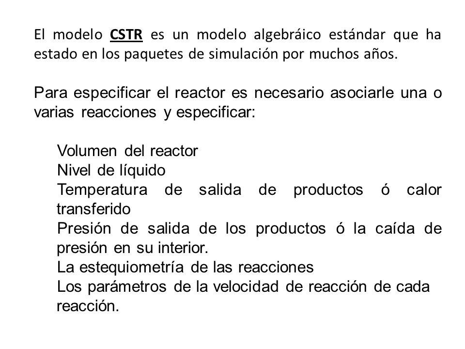 El modelo CSTR es un modelo algebráico estándar que ha estado en los paquetes de simulación por muchos años.
